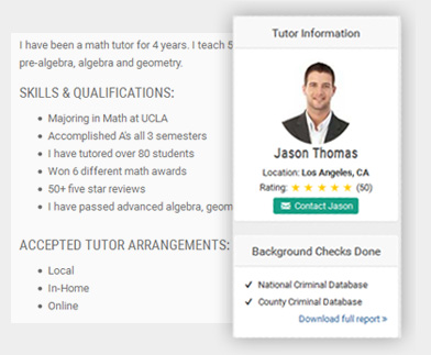 homeschool tutor profile